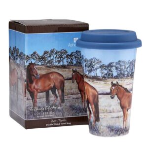 Ashdene Travel Tea Coffee Mug Cup Beauty of Horses Better Together