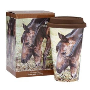 Ashdene Travel Tea Coffee Mug Cup Beauty of Horses Morning Graze