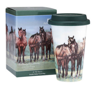 Ashdene Travel Tea Coffee Mug Cup Beauty of Horses In The Pasture