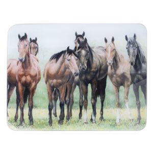 Ashdene Kitchen GLASS Horses in the Pasture Surface Saver Board