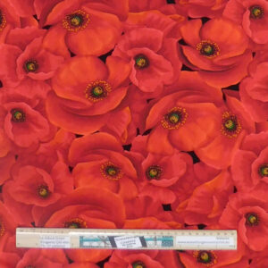 Quilting Patchwork Sewing Fabric Red Large Poppies 50x55cm FQ