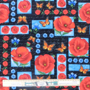 Quilting Patchwork Sewing Fabric Red Poppies with Blue 50x55cm FQ