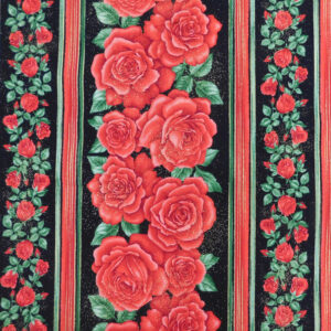 Quilting Patchwork Sewing Fabric Red Roses Border 50x55cm FQ