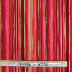 Quilting Patchwork Sewing Fabric Pink Red Gold Stripe 50x55cm FQ