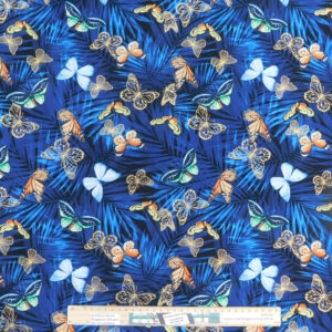 Quilting Patchwork Sewing Fabric Royal Blue Butterflies 50x55cm FQ