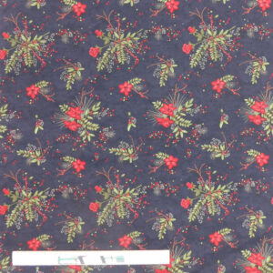 Quilting Patchwork Sewing Fabric Moda Flower Sprigs on Black 50x55cm FQ