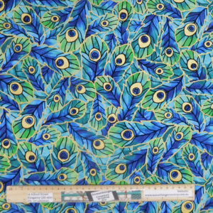 Quilting Patchwork Sewing Fabric Peacock Feather Blue Green 50x55cm FQ