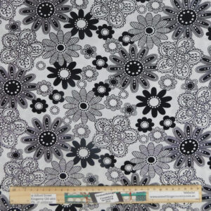 Quilting Patchwork Sewing Fabric White Black Funky Flowers 50x55cm FQ
