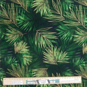 Quilting Patchwork Sewing Fabric Large Green Jungle Leaves 50x55cm FQ