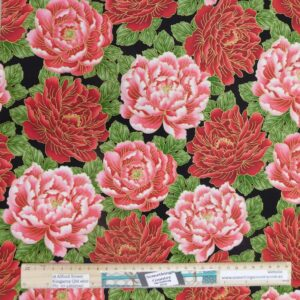 Quilting Patchwork Sewing Fabric Large Pink Red Flowers 50x55cm FQ