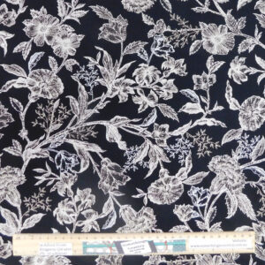 Quilting Patchwork Sewing Fabric Black Floral 50x55cm FQ