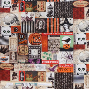 Quilting Patchwork Sewing Fabric Halloween Fright Night 50x55cm FQ