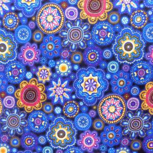 Quilting Patchwork Sewing Fabric Gondwana Mandala Blue 50x55cm FQ