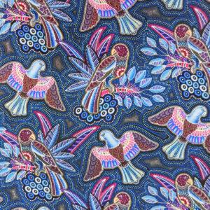 Quilting Patchwork Sewing Fabric Gondwana Birds Blue 50x55cm FQ