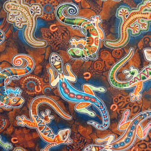 Quilting Patchwork Sewing Fabric Gondwana Lizards Brown 50x55cm FQ