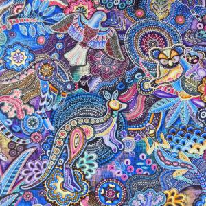 Quilting Patchwork Sewing Fabric Gondwana Animals Blue 50x55cm FQ
