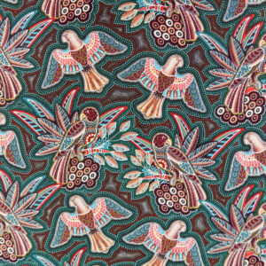 Quilting Patchwork Sewing Fabric Gondwana Birds Green 50x55cm FQ