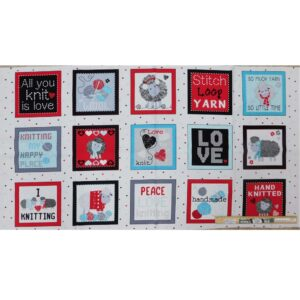 Patchwork Quilting Love to Knit Sheep Panel 60x110cm Fabric