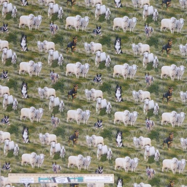 Quilting Patchwork Sewing Fabric Country Sheep Dogs 50x55cm FQ