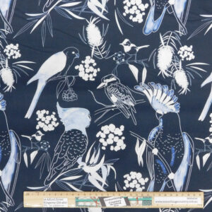 Quilting Patchwork Sewing Fabric Australian Parrots Navy 50x55cm FQ
