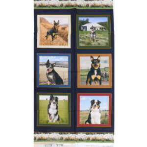 Patchwork Quilting Farm Dogs Panel 62x110cm Fabric Material