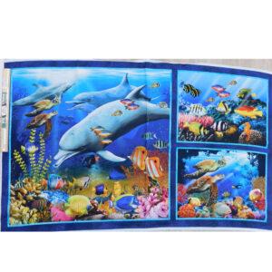 Patchwork Quilting Underwater Sealife Panel 67x110cm Fabric