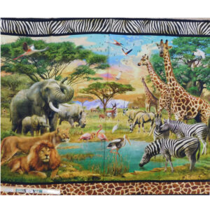 Patchwork Quilting African Safari Animals Panel 90x110cm Fabric