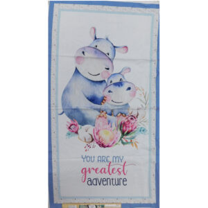 Patchwork Quilting Mothers Love Hippo Panel 59x110cm Fabric