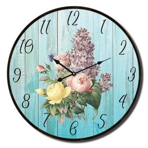 Clock Country Vintage Inspired Wall Heirloom Blue Floral 34cm