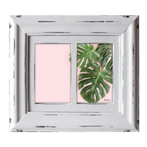 French Country Whitewash Wooden 6x4 Two Monstera Photo Frame