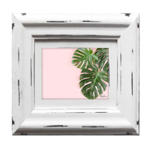 French Country Whitewash Wooden 5x7 Inch Monstera Photo Frame