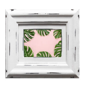 French Country Whitewash Wooden 6x4 Inch Monstera Photo Frame