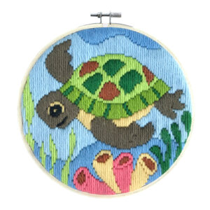 Long Stitch Kit Kids Beginner Turtle Inc Threads and Hoop 22cm