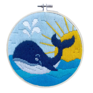 Long Stitch Kit Kids Beginner Whale Inc Threads and Hoop 22cm