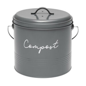Ladelle Enamel Eco Kitchen Scraps Charcoal Grey Compost Bucket with Filter
