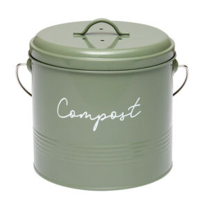 Ladelle Enamel Eco Kitchen Scraps Charcoal Sage Compost Bucket with Filter
