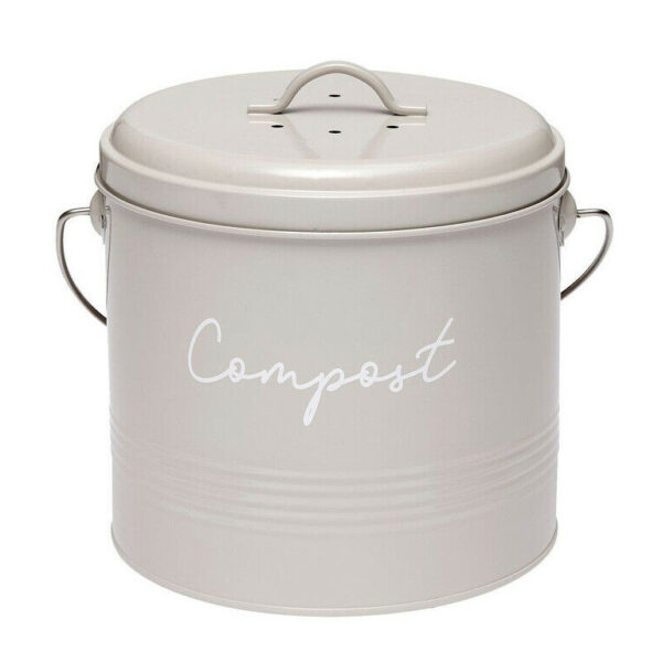 Ladelle Enamel Eco Kitchen Scraps Stone Compost Bucket with Filter