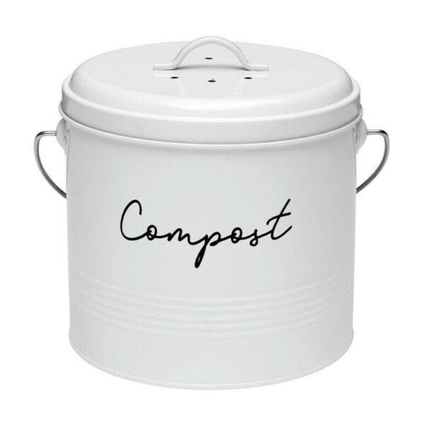 Ladelle Enamel Eco Kitchen Scraps Compost Bucket with Filter White