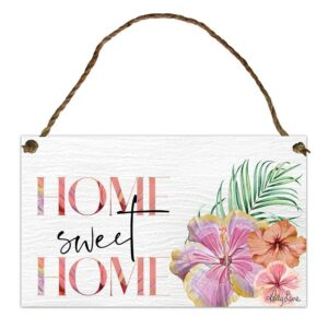 Country Metal Tin Sign Wall Art Hibiscus Home Sweet Home Plaque