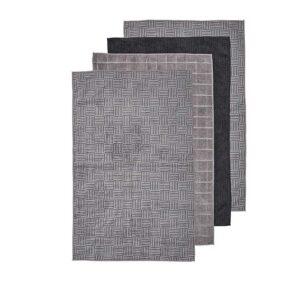 Ladelle Microfibre Kitchen Tea Towels Charcoal Dish Cloths Set 4