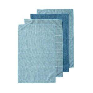 Ladelle Microfibre Kitchen Tea Towels Teal Dish Cloths Set 4