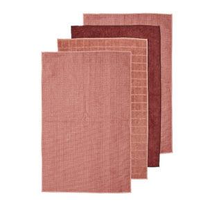 Ladelle Microfibre Kitchen Tea Towels Pink Dish Cloths Set 4