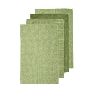 Ladelle Microfibre Kitchen Tea Towels Olive Green Dish Cloths Set 4