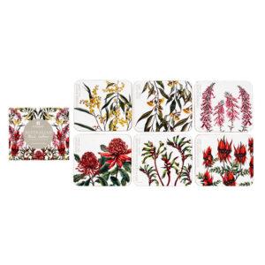 Ashdene Dining Kitchen Floral Emblems Cork Back Coasters Set 6