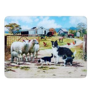 Ashdene Kitchen GLASS Farming Life Friends Surface Saver Board