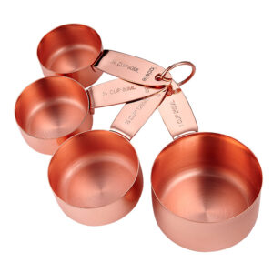 Kitchen Copper Set of 4 Metal Measuring Cups