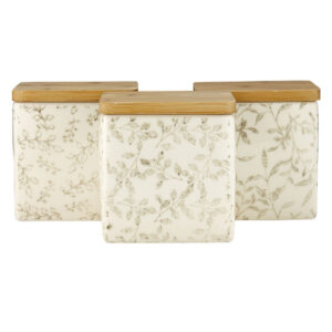 Kitchen Canisters Set of 3 Taupe Ceramic with Bamboo Lids Square