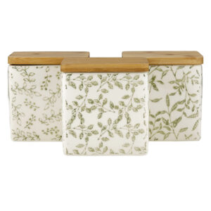 Kitchen Canisters Set of 3 Green Ceramic with Bamboo Lids Square