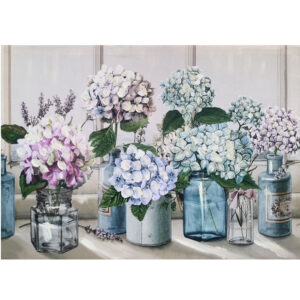 French Country Canvas Print HYDRANGEAS IN JARS 50x70cm