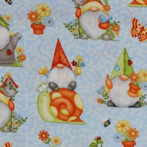 Quilting Patchwork Sewing Fabric Gnomes on Blue 50x55cm FQ